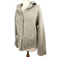 Per Una M&S Size XL 16 18 Light Grey Lambswool Angora Cardigan Pockets Winter