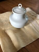 Limoges France White Porcelain Mustard/Jelly Jar With Lid Made In France