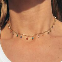 Bohemian Gold Necklace for Women Charming Colorful Stone Chain Chockers Handmade