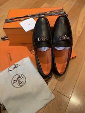Hermes Mens Irving Loafer Black Calfskin Size EU 42.5 UK 8.5