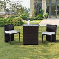 Outsunny 3pcs Coffee Sofa Furniture Wicker Rattan Bistro Set