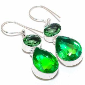 """Bi-Color Tourmaline Gemstone 925 Sterling Silver Jewelry Earring 1.9"""""""