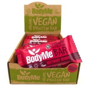 BodyMe Organic Vegan Protein Bar   Raw Beetroot Berry 12 x 60g Bars 16g Protein