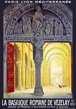 Affiche chemin de fer PLM - Basilique Romaine de Vézelay