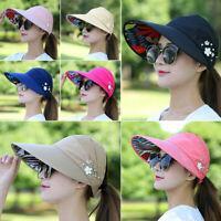 Foldable Women Hat Sun Wide Brim Cap Beach Visor UV Straw Cover Protection ~~~