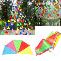 120 Pennant Flags Multi Colour Triangle Bunting Banner Party Decoration Outdoor