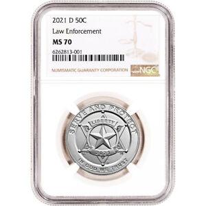 2021 D US National Law Enforcement Commemorative BU Half Dollar 50C NGC MS70