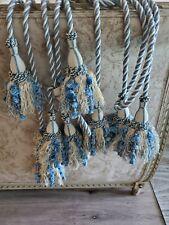 Designer drapery tiebacks double cord and tassels 4 sets