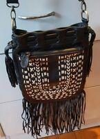 LA PEARL Black Tassel Leather Crossbody Byron Boho Festival Handbag BNWT $169.95