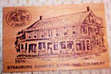 Vtg. Vandercraft Wood Postcard ~ Strasburg Country Store & Creamery~Made In USA