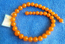 Vintage Kaliningrad Jewelry YAK w. Label Baltic Amber gems Necklace Round Beads