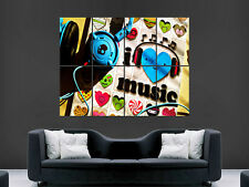 I LOVE MUSIC GIANT IMAGE HUGE LARGE WALL ART POSTER PICTURE