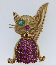 Tiffany and Co 18K Ruby and Emerald Cat Brooch Vintage RARE