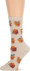 Hotsox Womens Cats in Boxes Fashion Crew Socks NWT