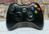 OFFICIAL MICROSOFT XBOX 360 WIRELESS CONTROLLER BLACK FREE P&P (A)