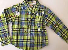 New Heidi Klum Truly Scrumptious Boys Green Button Down Plaid Dress Shirt 3T