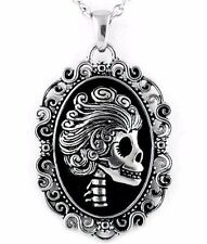 Controse The Ghoulish Damsel Macabre Cameo Black Steel Pendant Necklace CN089