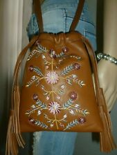 NEW LUCKY BRAND Brown Embroidered Leather Crossbody Shoulder Bag Handbag Purse