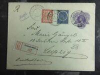 1911 Soekanoemi Netherlands Indies Registered Uprated Cover to Leipzig Germany