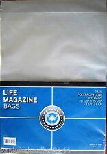 (100) New! CSP Polypropylene Life Magazine Bags, PVC Free 11.125 x 15.125