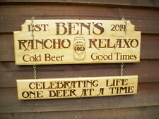 X LARGE 0.5M WIDE 2 PART PERSONALIZED IMAGE HOME BAR SALOON MANCAVE TIMBER SIGN