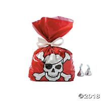 12 PIRATE CELLO BAGS FAVORS TREATS GIFTS LOOT BAGS PARTY TABLE DECORATION SKULL
