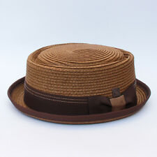 Rico Men's Women's Unisex Braided Summer Straw Retro Porkpie Hat