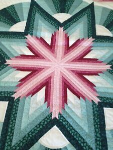 King sized handmade quilt Wedding Star Green, Pink And Cranberry