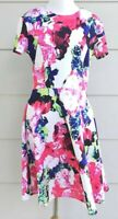 Milly women's dress Design Nation size 8 floral short sleeves white pink flare