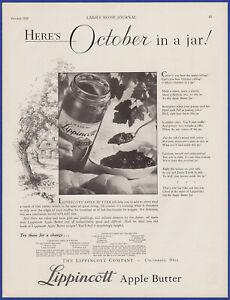 Vintage 1929 LIPPINCOTT Apple Butter Jam Jelly Kitchen Art Décor 20's Print Ad