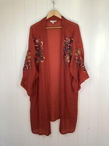 Umgee USA Rust Orange Embroidered Boho Kimono Open Duster Jacket Size XL