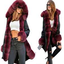 Roiii New Fashion Womens Parka Long Coat Thicken Warm Hooded Fur Military Jacket