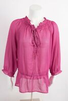 Loft Women's Shirt Blouse Top M Pink Black Polka Dot Drawstring Semi Sheer