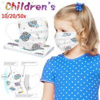 10/20/50stk Kinder Gesichtsvisier Mund-Nasen-Maske 3-lagig 3D Mund Maske