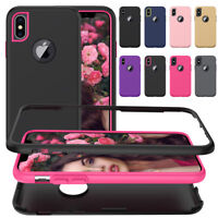 For Apple iPhone XS Max XR 8 7 6s Plus Slim Shockproof Dual Layer Gel Case Cover