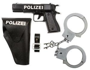 Idena Polizei-Set 3-teilig, mit Pistole, Halfter und Handschellen 8040007