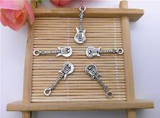 Wholesale 14pcs Tibet Silver Guitar Charm Pendant Beaded Jewelry DIY 54
