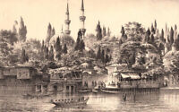 Istanbul EYUP SULTAN MOSQUE SEAPORT ~ Antique Old Ottoman Architecture Art Print