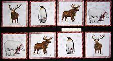 "24"" Fabric Panel - Robert Kaufman Holly Jolly Christmas Deer Penguin Moose Block"