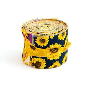 2.5 inch SUNFLOWERS Jelly Roll 100% cotton fabric quilting strips 17 pcs pre cut