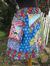 ReFuNk Vintage Handmade Hippie Patchwork Skirt knee length hanging pocket fUnKy