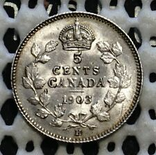 1903H Canada Silver Five Cent ♚ King Edward VII ♚ Nice UNC Lustrous Coin