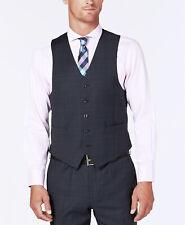 $240 Michael Kors Men Blue Fit Button Wool Check Suit Vest Waistcoat Size 42R