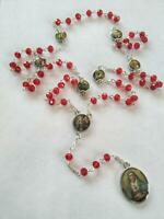 Catholic Seven Sorrows Rosary Our Lady Of The Mater Dolorosa Red Crystal Beads
