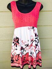 BEBE Women's Dress Size Medium M Pink SILK Knit Floral Sleeveless