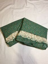 "2 Green Calico Valances JC Penney 15"" x 80"" Lace Floral Polycotton"