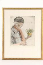 """Paul Geissler 1951 Hand-Colored Etching on Paper""""Die Ersten Schneeglockchen"""" EUC"""