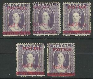 SOUTH AFRICA / NATAL QV 1895 1/2d ON 6d VIOLET ALL WITH FLAWS MINT