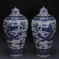 Yongle marked blue and white Porcelain hand painted dragon eight edge vase 20.5""