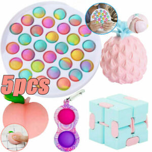 5Pack Bundle Toy Simple Dimple Tools Infinity Cube Stress Relief Fidget Toys Set